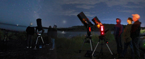 A photo of astronomers at Saints Rest Beach in Saint John, NB, from Astronomy by the Bay