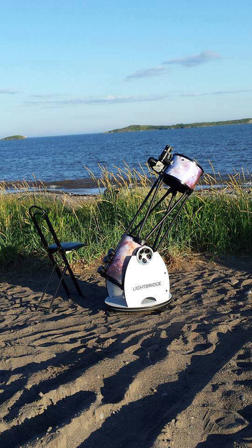 A Dobsonian Telescope set up at Saints Rest Beach, Saint John, NB.