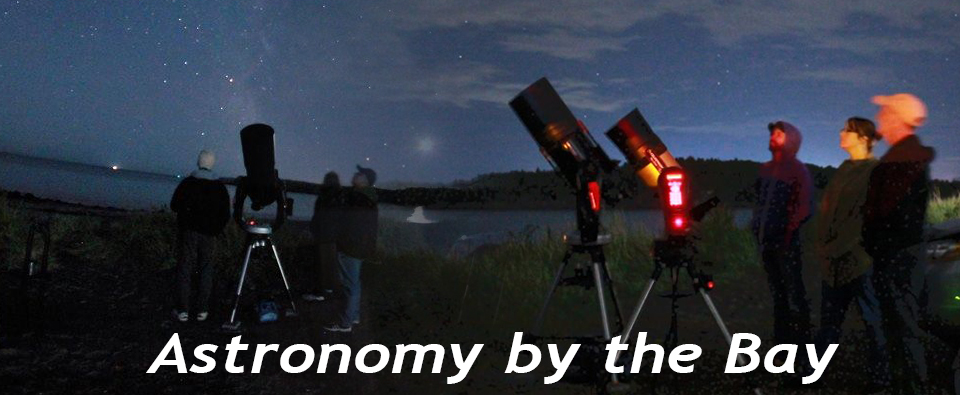 Header photograph from Astronomy by the Bay showing two groups of people with telescopes on the Bay of Fundy