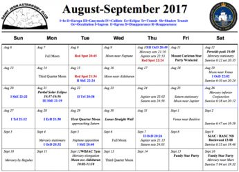 What's Up for the night sky- August to September 2017--Saint John Astronomy Club.