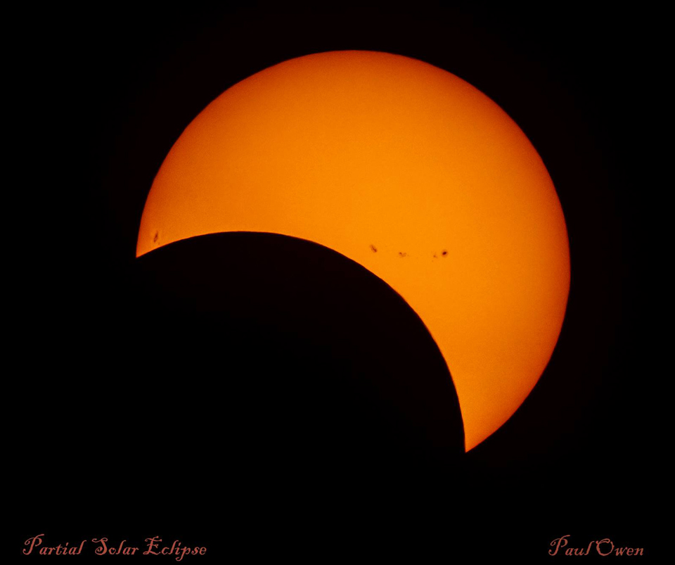 Photo by Paul Owen of the Partial Solar Eclipse in Saint John, NB