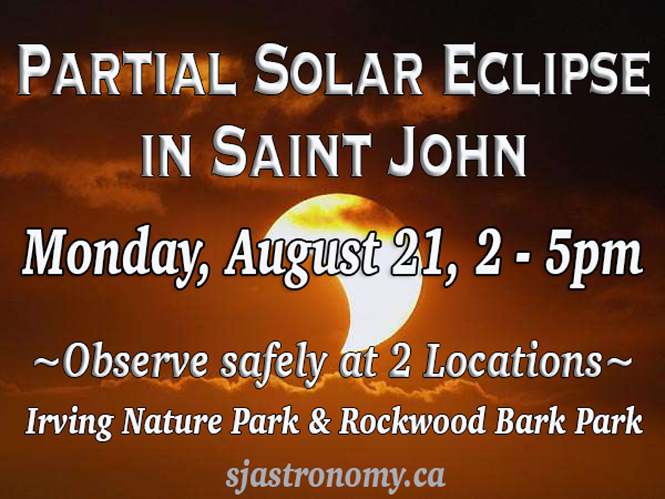 Photo listing public observing locations of the partial solar eclipse in Saint John, NB