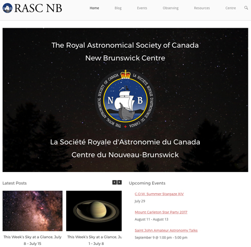 Screenshot of the new RASC NB website.