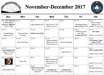 The November-December 2017 calendar of the night sky and activities from the Saint John Astronomy Club.