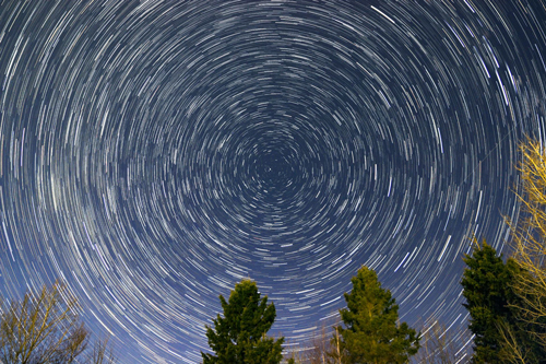 A photo of star trails taken by Paul Owen