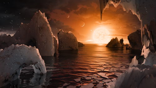 Photo of artists conception of TRAPPIST-1f planet in the TRAPPIST System