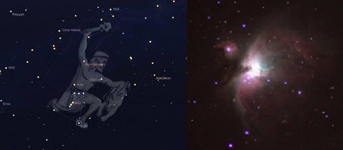 Two photographs of the constellation Orion in the winter sky, showing location and image itself.