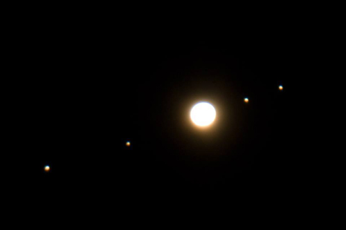 Photograph of Jupiter and its Moons through binoculars.