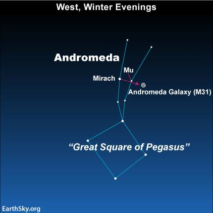 Photograph of West, Winter Evening Sky showing Constellation Andromeda and Great Square of Pegasus