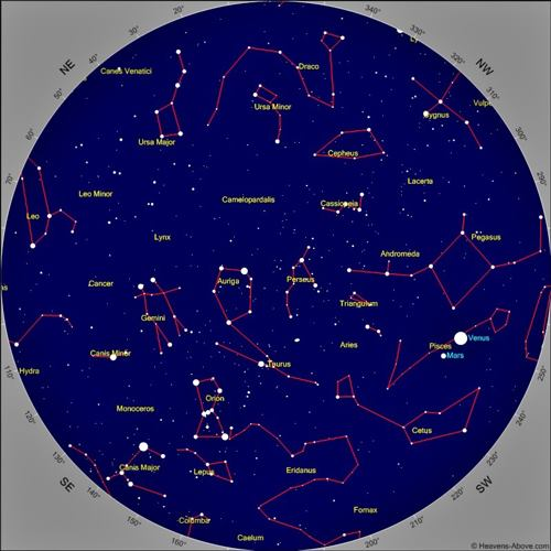 A printable star chart showing constellations to assist in navigating the night sky.