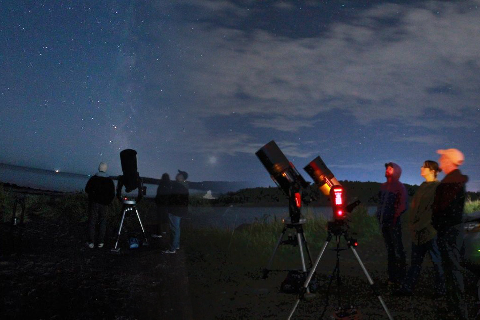 A group of astronomers at Saints Rest Beach in Saint John