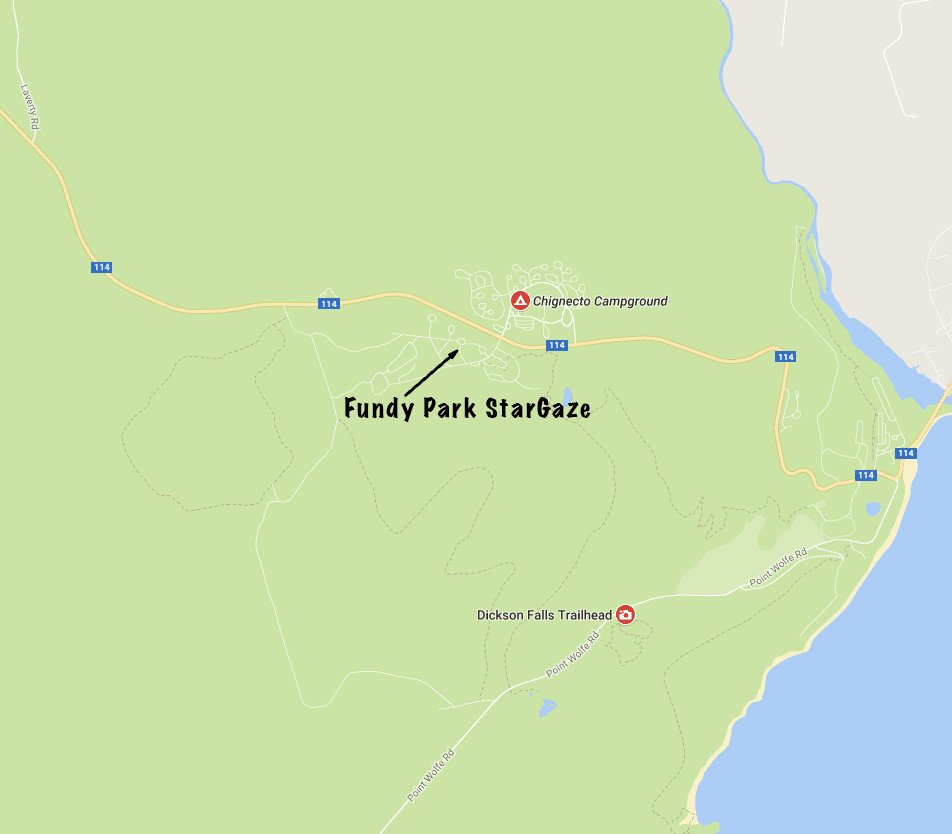 Photo of location of the Fundy Park StarGaze 2017 in the group camping area across from Chignecto Campground
