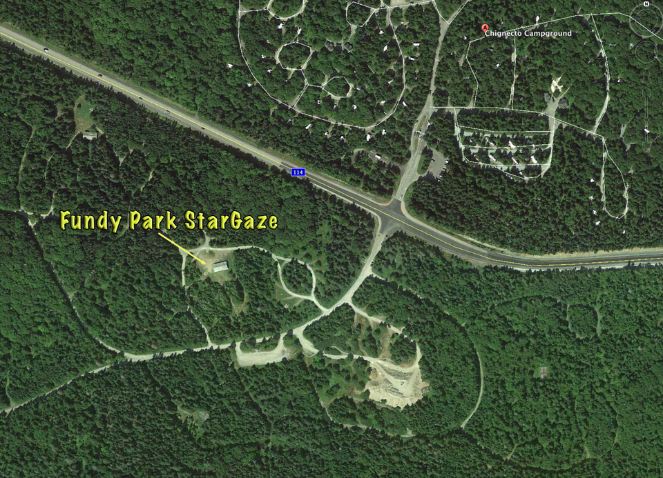 Google Earth photo of location of the Fundy Park StarGaze 2017 in the group camping area across from Chignecto Campground