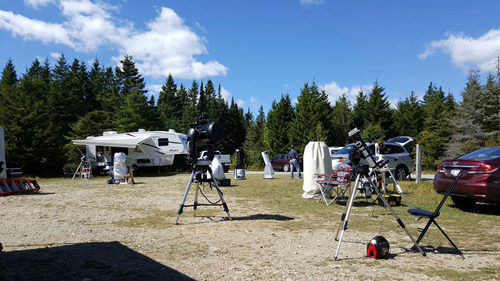 Telescopes waiting for the nighttime set up at the 2016 Fundy Star Party