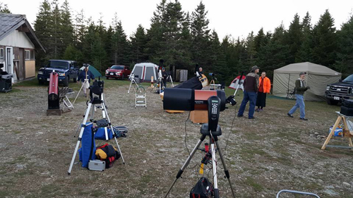Telescopes set up during the daytime at the 2016 Fundy Star Party