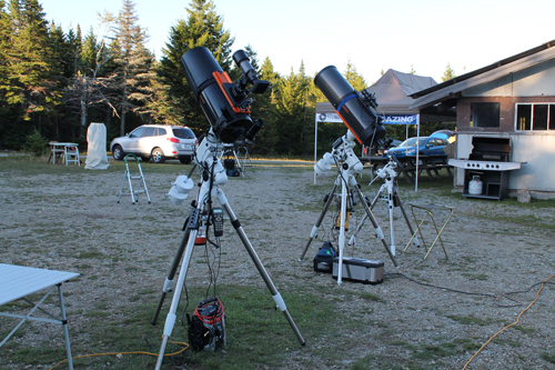A photo of two telescopes set up at the 2016 Fundy Star Party at Fundy National Park
