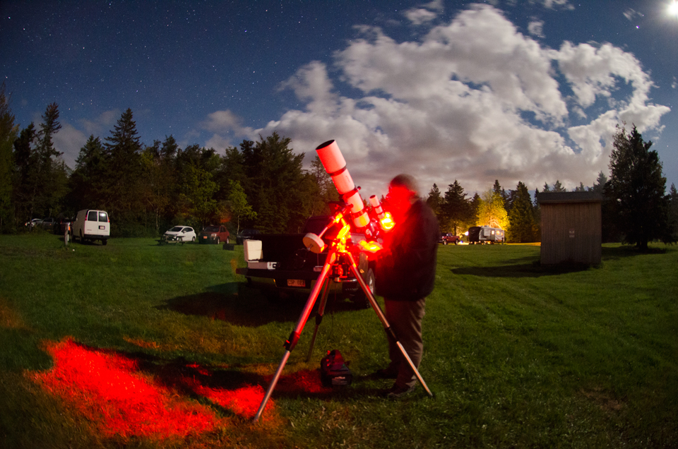 Photo of observing at the Kouchibouguac Spring StarFest 2017.