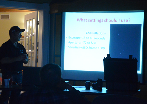 Paul Owen discussing which settings to use for photographing Constellations at the 4th Free Astronomy Workshop