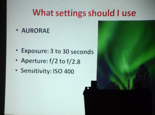 Paul Owen discussing which settings to use for photographing the Aurorae at the 4th Free Astronomy Workshop