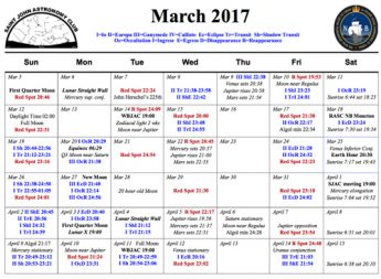 A calendar of Whats Up in the sky for the month of March 2017