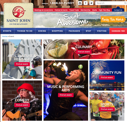 Photo of the Discover Saint John Events Page