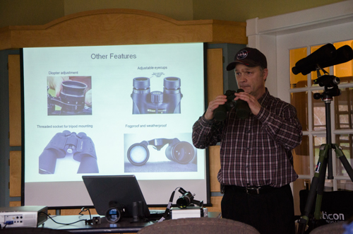 Paul Owen showing what features to look for in binoculars and some of the options available.