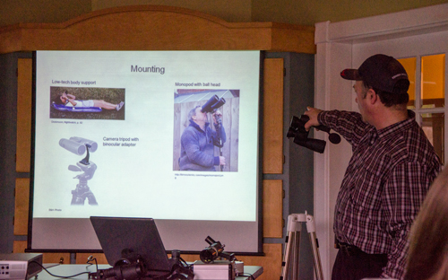 Paul Owen explaining how to mount binoculars for steady viewing.