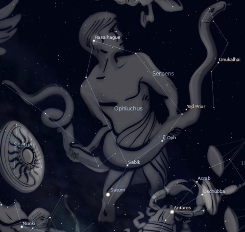 Photo of the constellation Ophiuchus the Serpent Bearer