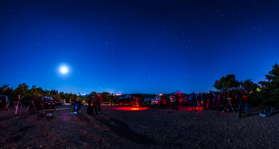 Photo of some of the telescopes set up at the National Star Party celebrated at Irving Nature Park, Saint John, NB.
