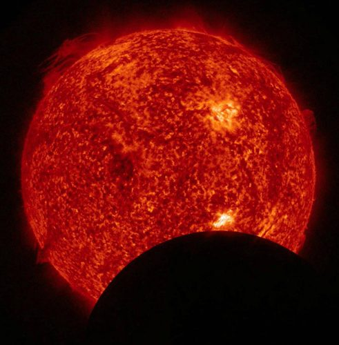 A view of the Sun through a safely filtered telescope