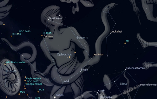 Photo of the constellation Serpens in the southern night sky.
