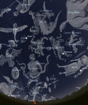 A view of the constellations at their zenith.