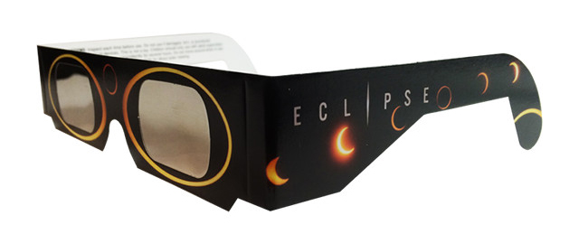 Photo of eclipse glasses for proper eye protection.