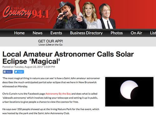 Interview with Chris Curwin and 94.1fm about the Partial Solar Eclipse.