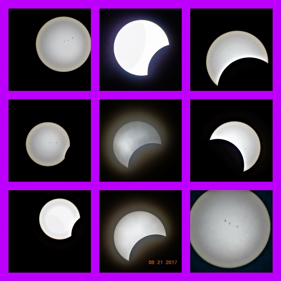A composite photo of the partial eclipse by Patty Maillet of the Saint John Astronomy Club.