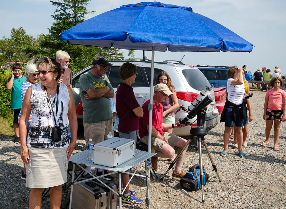 Chris Curwin doing a Facebook Live Feed at the Partial Solar Eclipse Day On August 21, 2017 at Irving Nature Park, Saint John, NB.