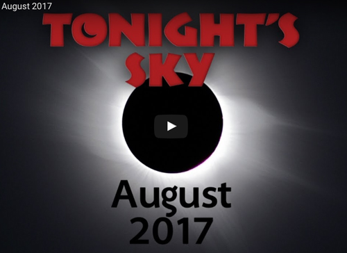 A graphic with the link to the Hubble Monthly Video on what to expect in this month's night sky.