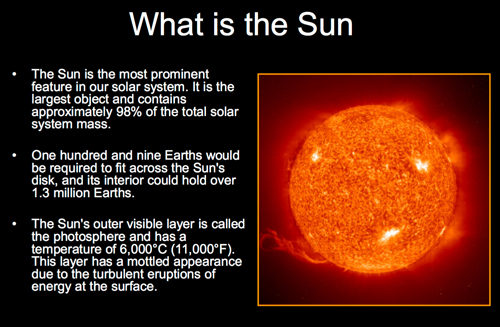 A short pdf presentation of Saint John astronomer Mike Powell about the Sun.