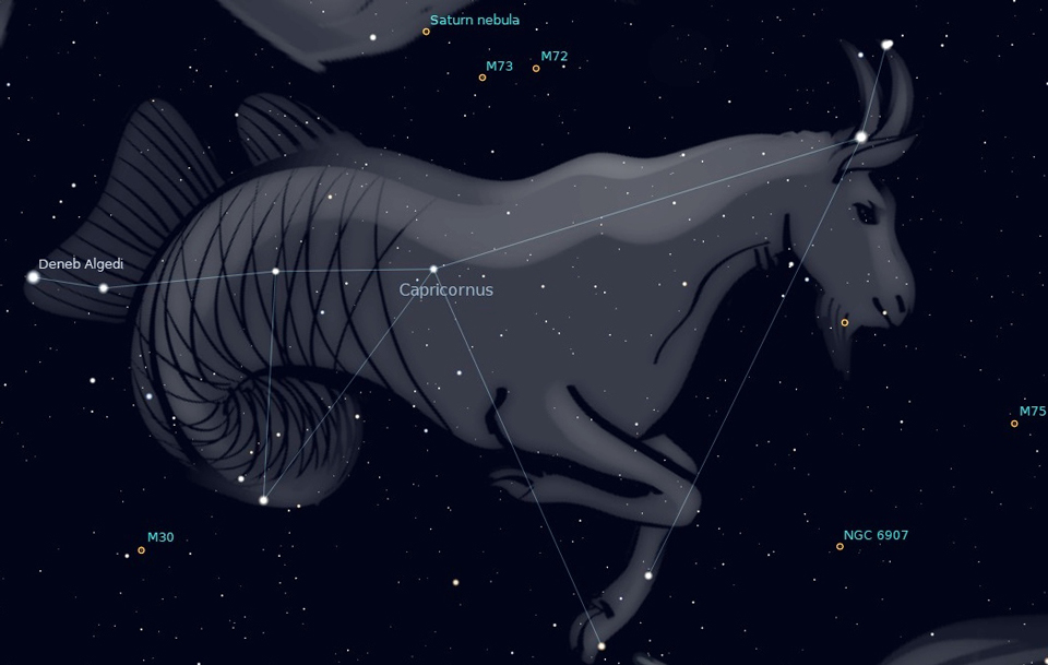Photo showing the constellation Capricornus, rising due south about 10 pm this week.