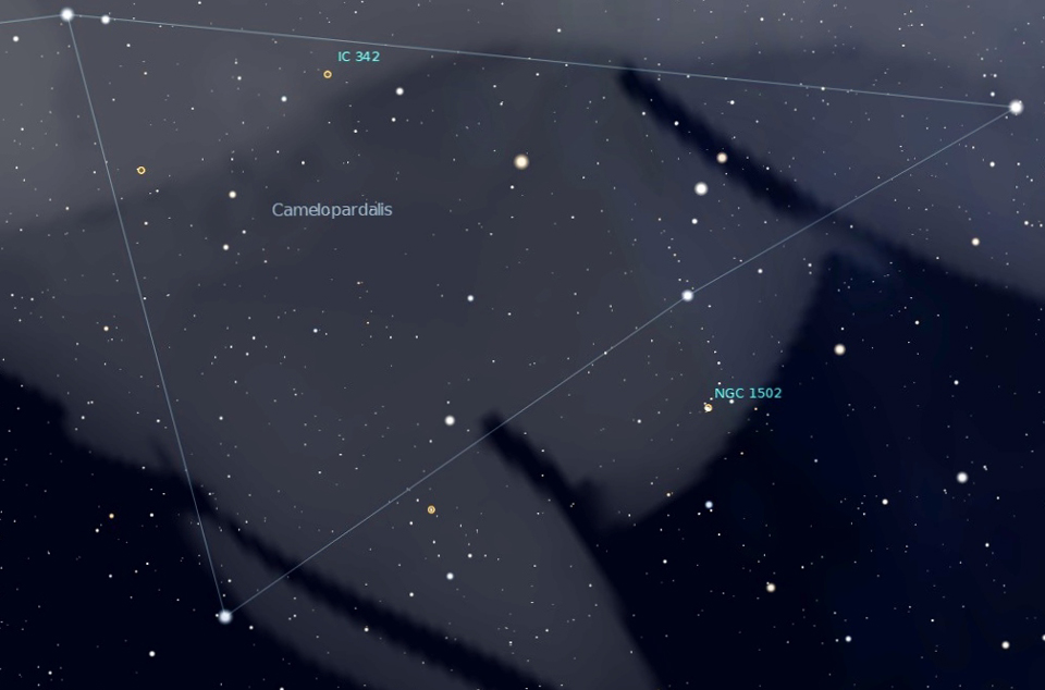 Photo showing the location of Kemble's Cascade in the constellation Camelopardalis