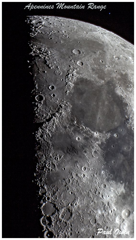 Photo of the Moon's Apennines Mountain Range by Paul Owen