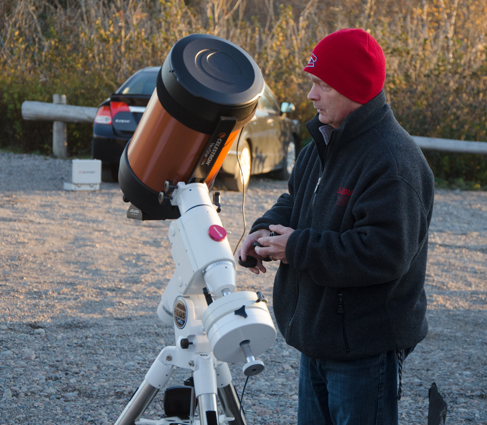 Astronomer Paul Owen setting up at the Observe the Moon Night October 2017 at Irving Nature Park