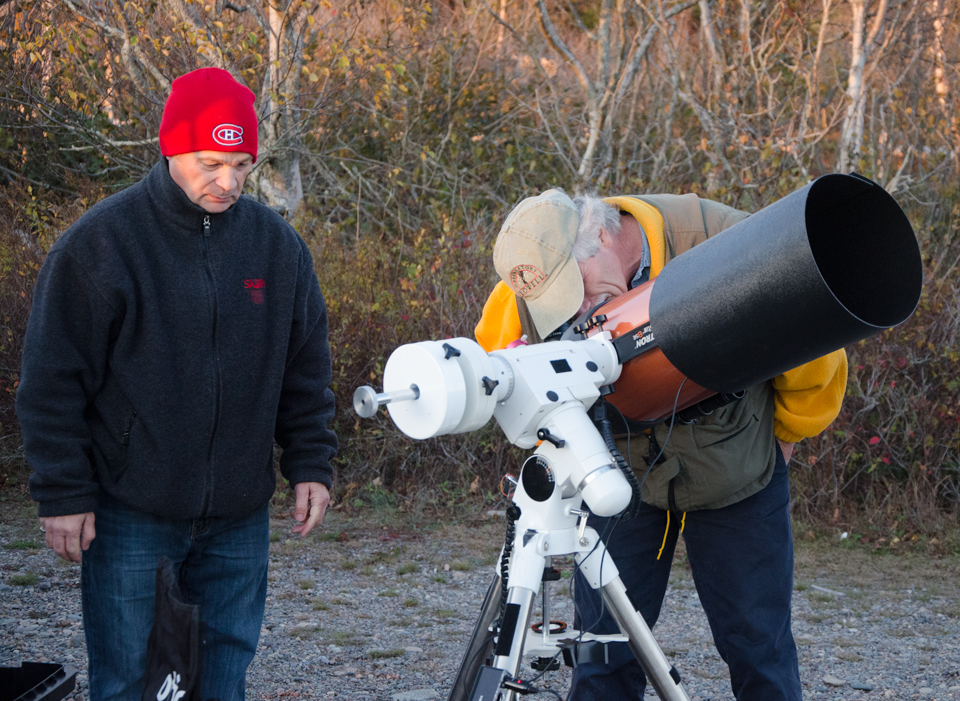 Astronomers Paul Owen and Curt Nason checking things over at the Observe the Moon Night October 2017 at Irving Nature Park
