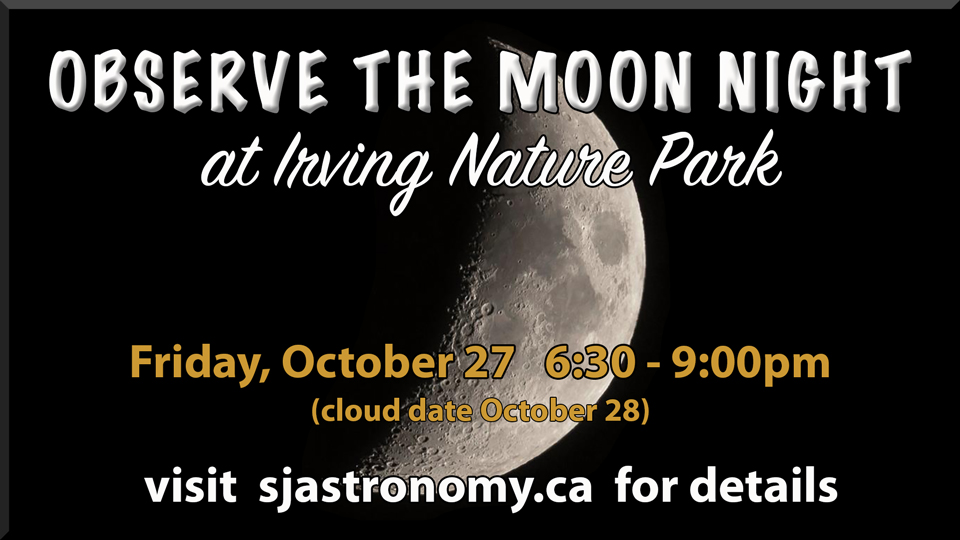 Graphic showing Observe the Moon Night at Irving Nature Park 2017