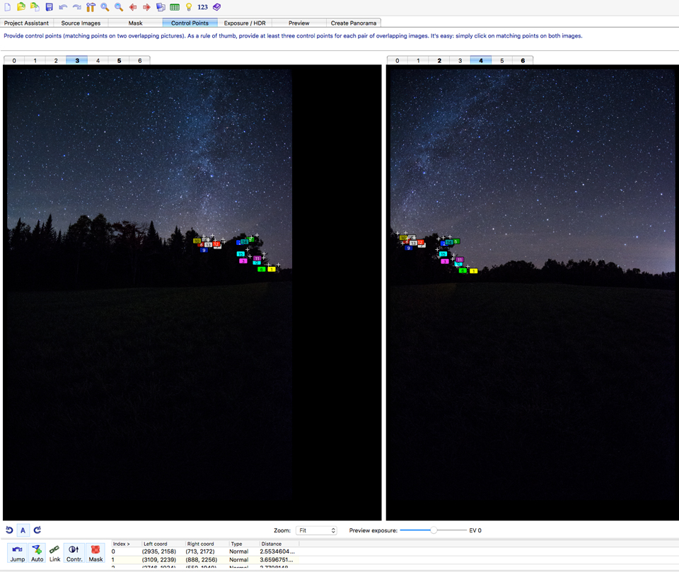 A screenshot of the Control Point window in the stitching software PtGui--nighttime shot.