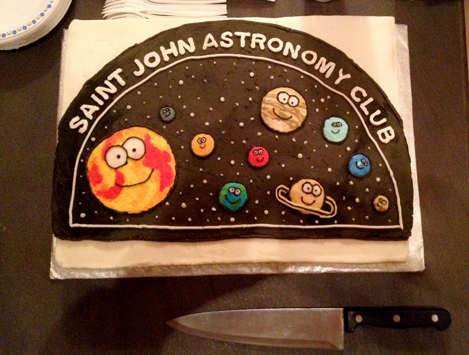 Photo of Trudy Almon's cake for the last SJAC Free Astronomy Workshop series.