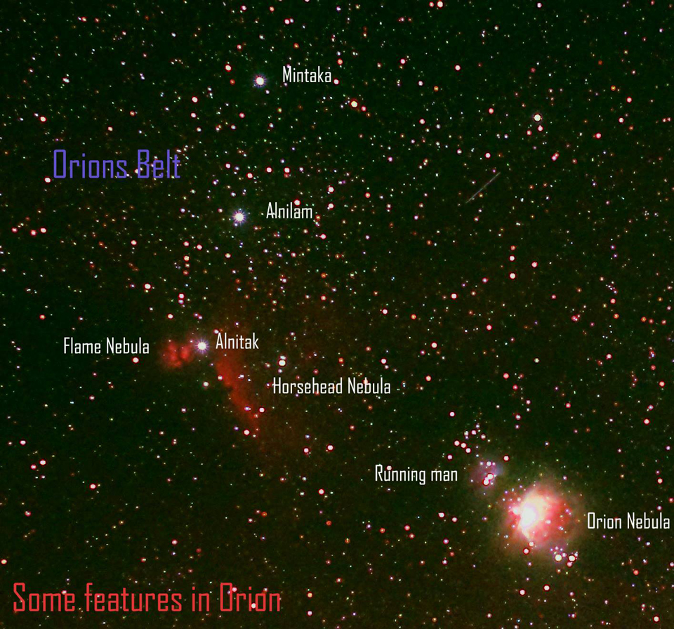 Photo by Paul Owen of the Orion constellation showing nearby features.