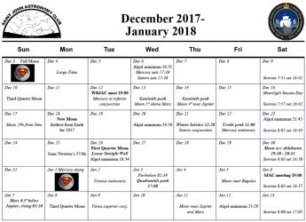 December 2017 Calendar for the Saint John Astronomy Club