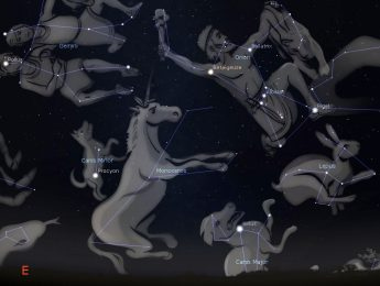 Photo showing location of the constellation Orion, with the the dog constellations Canis Major and Canis Minor nearby.