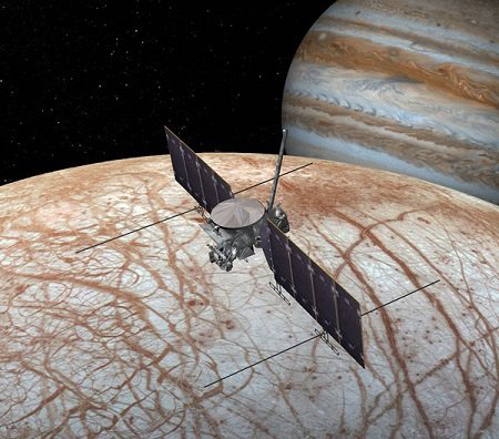 NASA image of a fly by of Europa